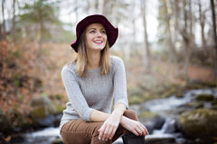 Woman with long hair, fedora hat. A Woman with long hair, fedora hat stock photos
