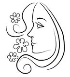 Woman With Long Hair Flowers. A clip art outline illustration of the profile face of a young woman with long flowing hair that ends in a curl with a few flowers