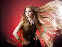 Woman with long hair Stock Images