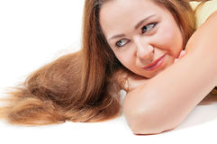 Woman with long hair lying Royalty Free Stock Photo