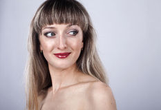 Woman with long hair and make-up in studio Royalty Free Stock Photography