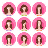 Woman long hairstyle icon set. Vector set of nine fashion femine silhouette long hairstyle. Woman icon avatar collection Royalty Free Stock Photo