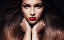 Woman with long healthy hair. In studio Royalty Free Stock Photography