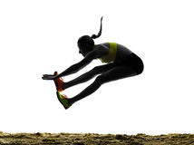 Woman long jump isolated silhouette Stock Photography