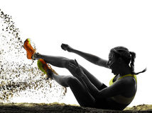 Woman long jump isolated silhouette Royalty Free Stock Images