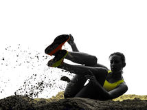 Woman long jump isolated silhouette Stock Photos