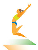 Woman long jumper performs the winning jump Royalty Free Stock Photography