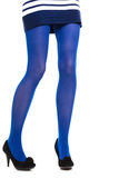 Woman long legs and blue stockings isolated Stock Photos