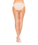 Woman with long legs in cotton underwear Royalty Free Stock Images