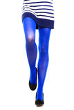 Woman with long legs and stockings. Woman with long legs and blue stockings isolated Royalty Free Stock Image
