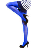 Woman with long legs and stockings. Woman with long legs and blue stockings isolated Stock Images