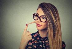 Woman with long nose royalty free stock photos