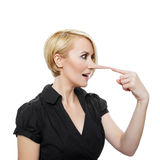 Woman with long nose Royalty Free Stock Images