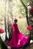 Woman in long pink dress Royalty Free Stock Photos
