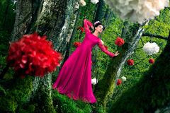 Woman in long pink dress Royalty Free Stock Photography