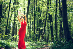 Woman in long red dress walking in the forest Royalty Free Stock Image