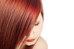 Woman with long red hair Stock Photography