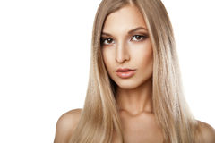Woman with long straight blond hairs isolated Stock Image