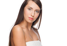 Woman with long straight hair Royalty Free Stock Image