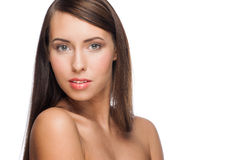 Woman with long straight hair Stock Images