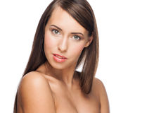 Woman with long straight hair Stock Photos
