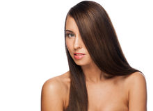 Woman with long straight hair Royalty Free Stock Images