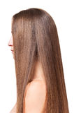 Woman with long straight hair, manicured side isolated on white. stock photos