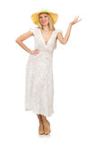 Woman in long summer dress and hat isolated on Royalty Free Stock Photography