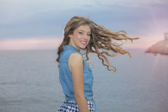 Woman with long wavy healthy hair Royalty Free Stock Photography