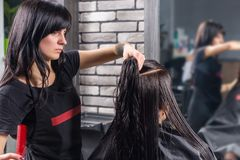 Woman with long wet hair waiting for haircut while female hairdresser combing her hair stock images