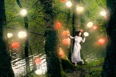 Woman in long white  dress Royalty Free Stock Photo