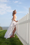 Woman in long white dress Royalty Free Stock Photos