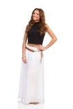Woman In Long White Skirt Posing Stock Image