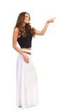 Woman In Long White Skirt Pushing Virtual Button Stock Image