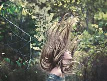 Woman with long windswept hair Royalty Free Stock Photography