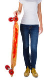 Woman with longboard Royalty Free Stock Photo