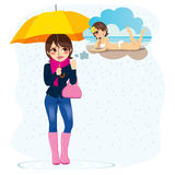 Woman Longing For Summer. Beautiful sad woman standing in the rain longing for sunny summer beach vacations royalty free illustration