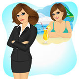 Woman longing for sunny summer beach vacations. Attractive sad brunette businesswoman longing for sunny summer beach vacations stock illustration