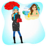 Woman longing for sunny summer beach vacations. Attractive sad woman standing with an umbrella and handbag in the rain longing for sunny summer beach vacations stock illustration