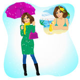 Woman longing for sunny summer beach vacations. Attractive sad woman standing with an umbrella and handbag in the rain longing for sunny summer beach vacations vector illustration