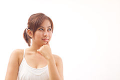 Woman look at blank space Royalty Free Stock Photo