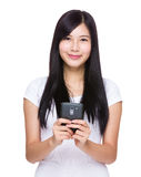 Woman look at cellphone Stock Photo
