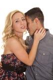 Woman look close man kiss her neck Stock Photos