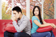 Woman look with cold stare. Woman quarrel with her boyfriend and look with cold stare Stock Image