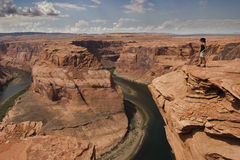 Woman look the Colorado river Stock Photo
