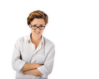 Woman with look of disapproval. Confused, questioning, strange expression Stock Images