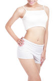 Woman look her body and hand touch hips Stock Photography