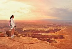 Woman look out on the Canyonlands Royalty Free Stock Photo