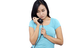 Woman Look Sad Talking On The Phone Stock Images