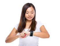 Woman look at smart watch Royalty Free Stock Photography